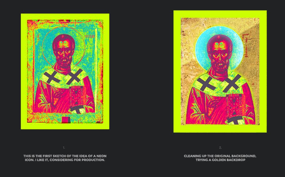 Nicolas neon icon t-shirt print evolution stage 1
