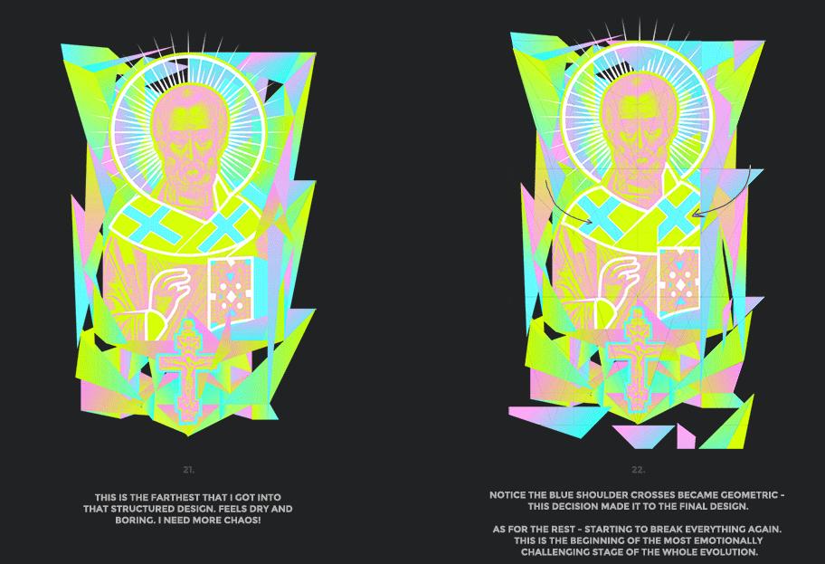 Nicolas neon icon t-shirt print evolution stage 11