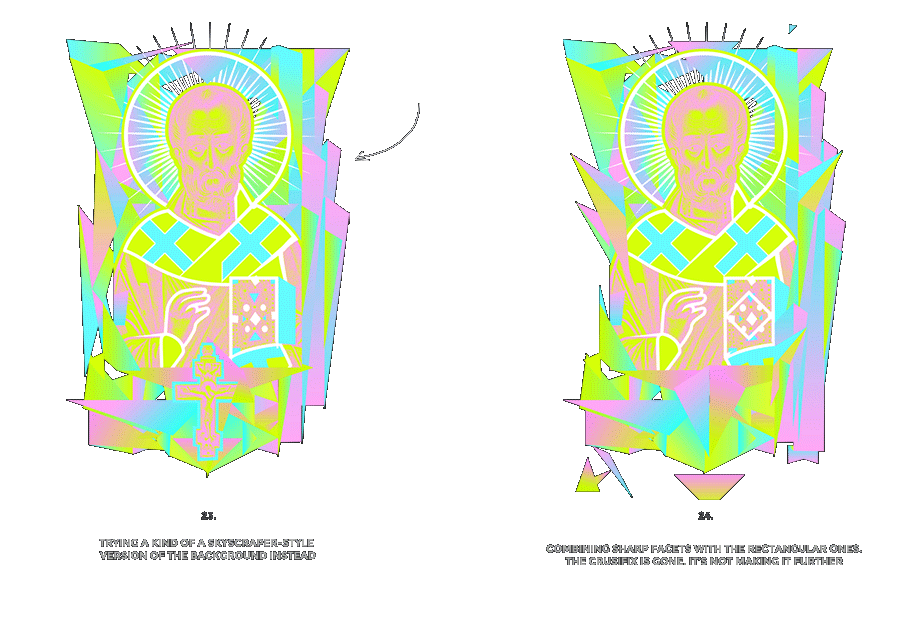 Nicolas neon icon t-shirt print evolution stage 12