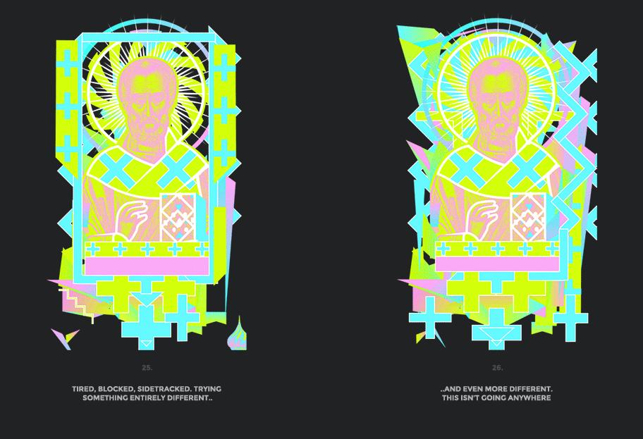 Nicolas neon icon t-shirt print evolution stage 13