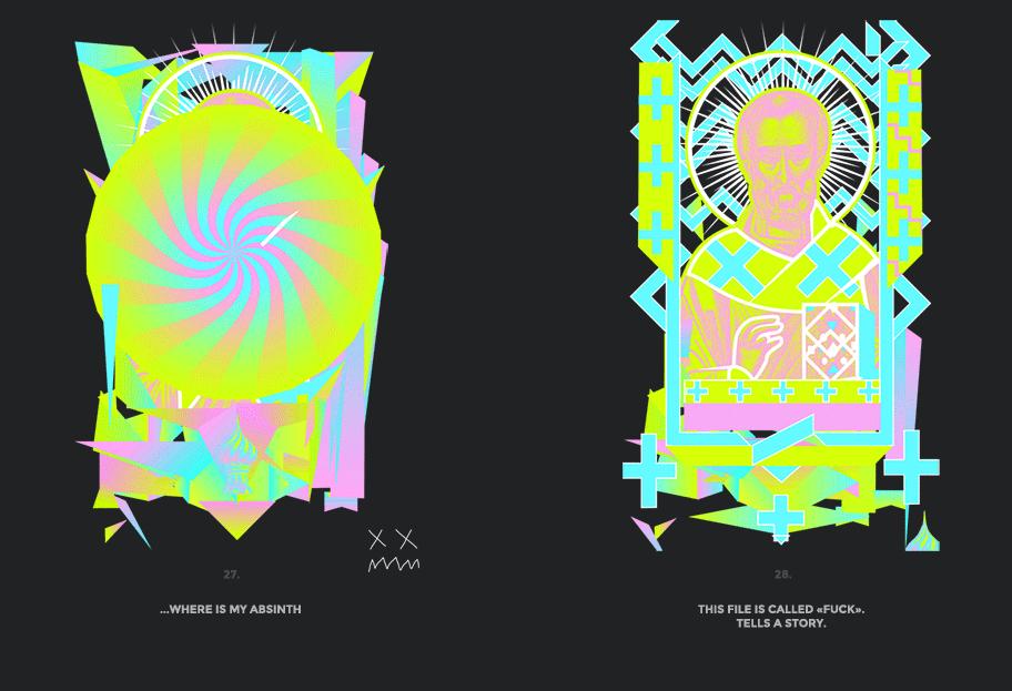 Nicolas neon icon t-shirt print evolution stage 14