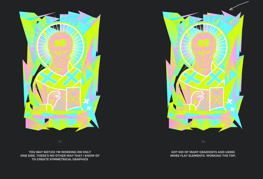 Nicolas neon icon t-shirt print evolution stage 16