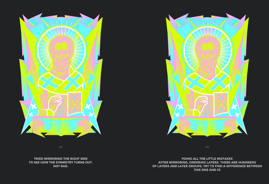 Nicolas neon icon t-shirt print evolution stage 17