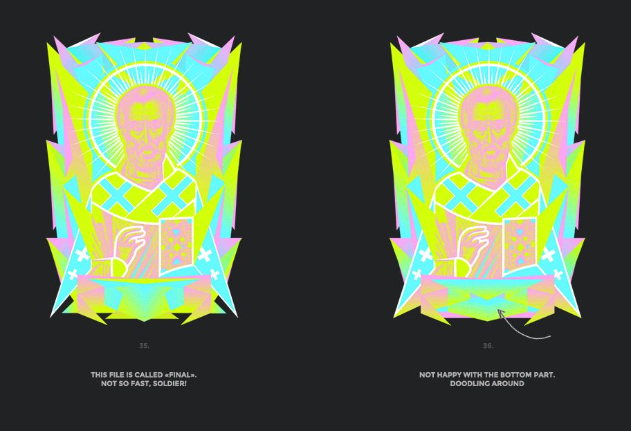 Nicolas neon icon t-shirt print evolution stage 18
