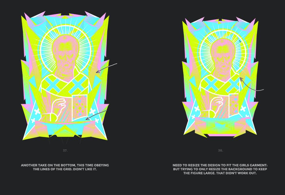 Nicolas neon icon t-shirt print evolution stage 19