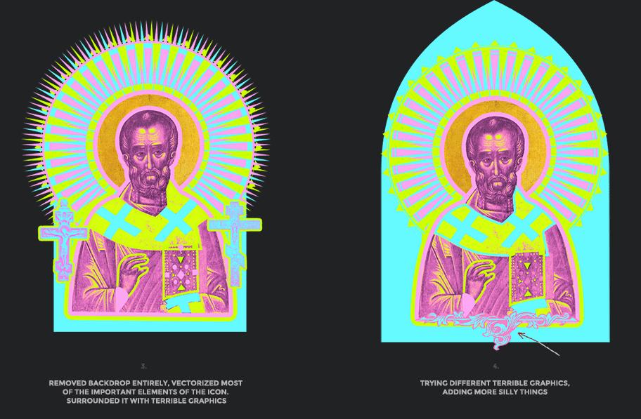 Nicolas neon icon t-shirt print evolution stage 2