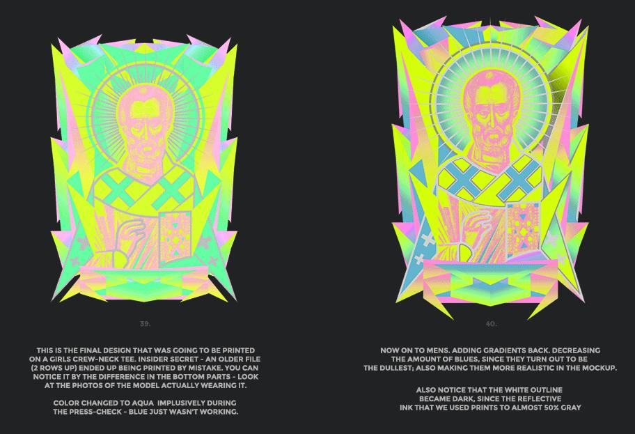 Nicolas neon icon t-shirt print evolution stage 20