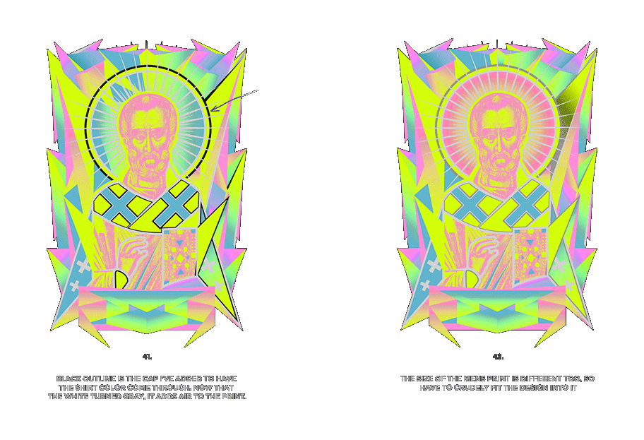 Nicolas neon icon t-shirt print evolution stage 21