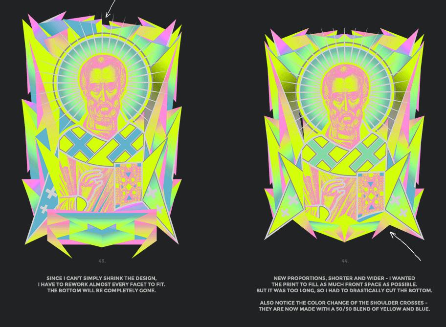 Nicolas neon icon t-shirt print evolution stage 22