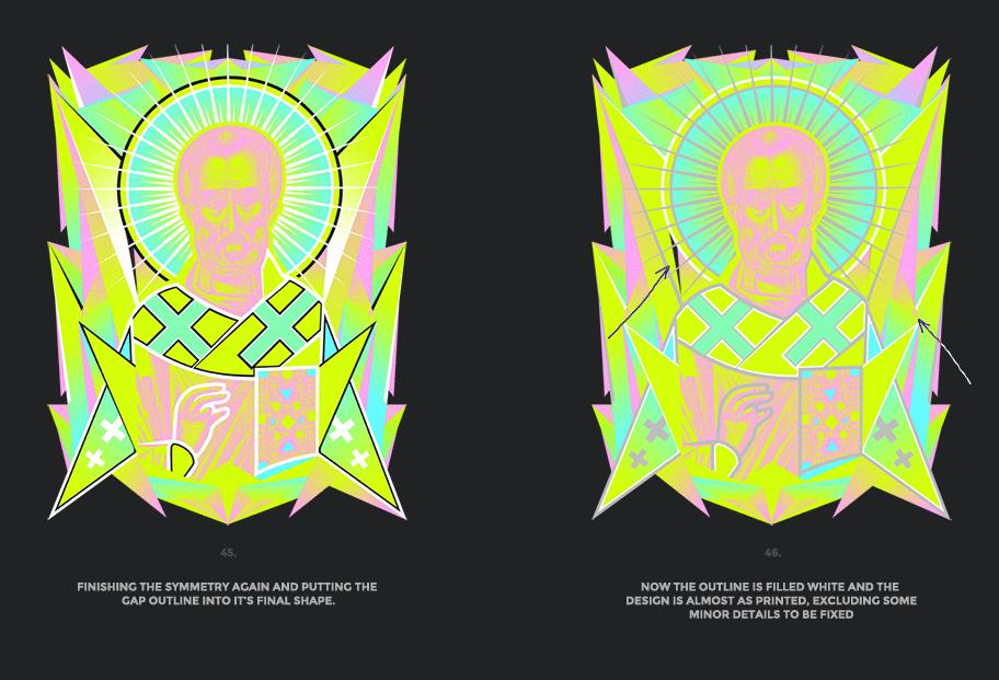 Nicolas neon icon t-shirt print evolution stage 23
