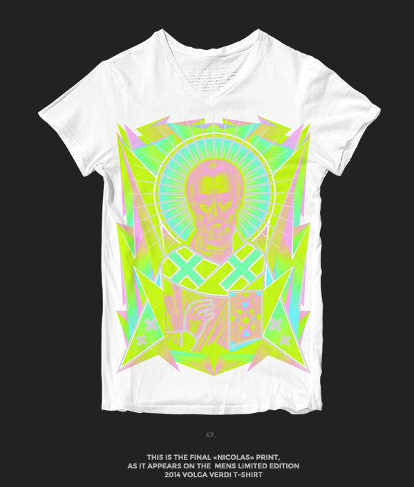 Nicolas neon icon t-shirt print evolution final stage