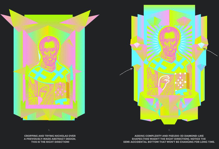 Nicolas neon icon t-shirt print evolution stage 3