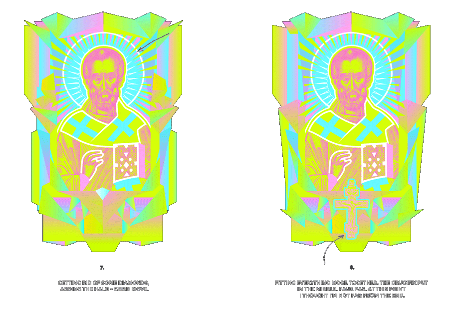 Nicolas neon icon t-shirt print evolution stage 4