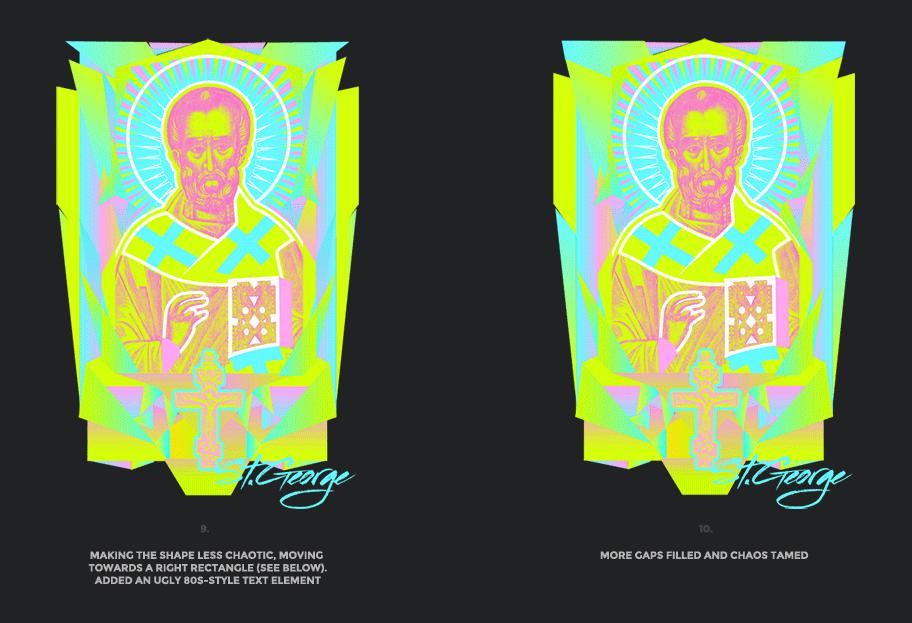 Nicolas neon icon t-shirt print evolution stage 5