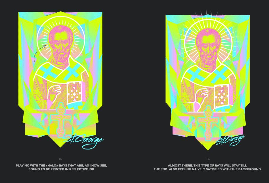 Nicolas neon icon t-shirt print evolution stage 6
