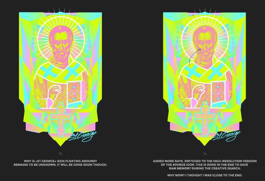 Nicolas neon icon t-shirt print evolution stage 7