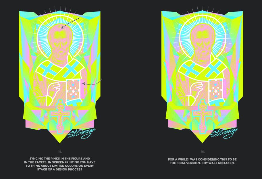Nicolas neon icon t-shirt print evolution stage 8