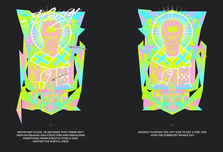 Nicolas neon icon t-shirt print evolution stage 9